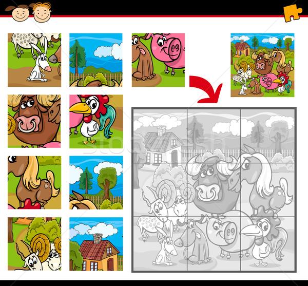 Boerderijdieren spel cartoon illustratie onderwijs Stockfoto © izakowski