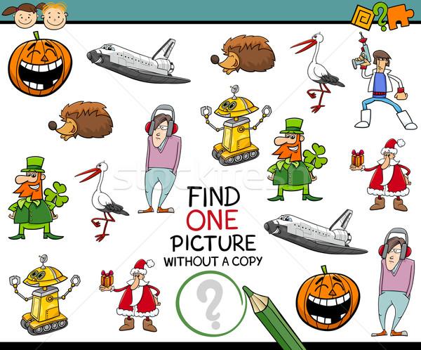Encontrar um quadro jardim de infância tarefa desenho animado Foto stock © izakowski
