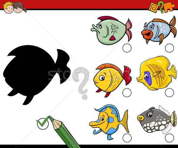 Schaduwen activiteit kinderen cartoon illustratie onderwijs Stockfoto © izakowski