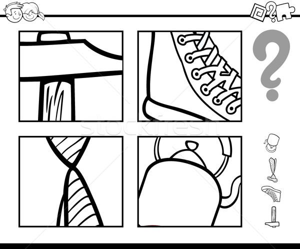 Indovinare oggetti libro da colorare bianco nero cartoon illustrazione Foto d'archivio © izakowski