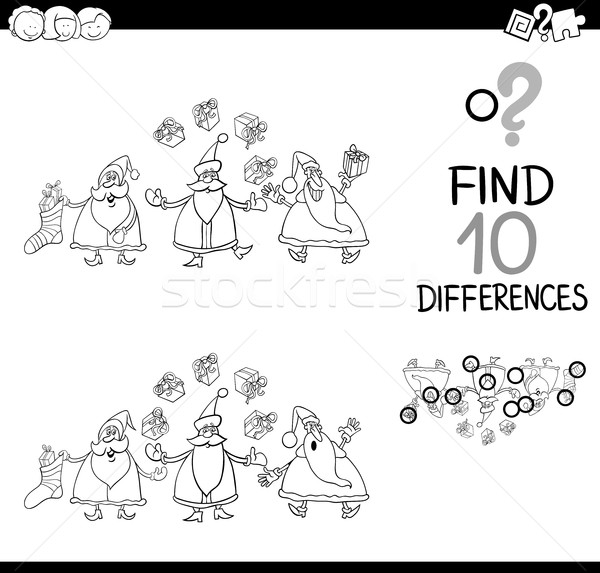 santa difference game for coloring Stock photo © izakowski