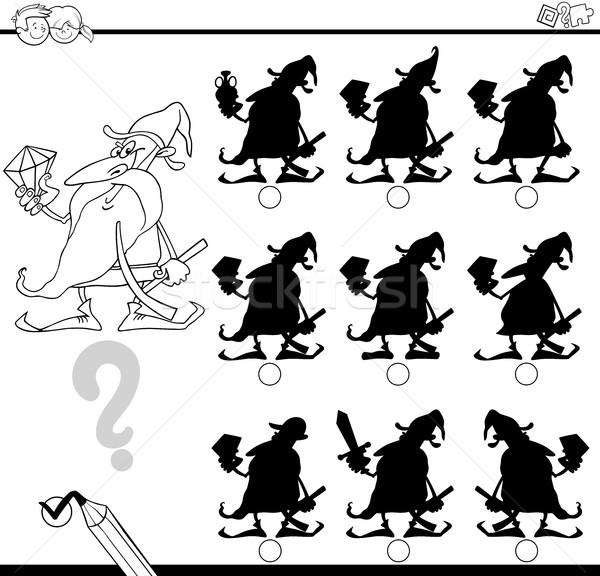 Schaduwen verschillen dwerg zwart wit cartoon illustratie Stockfoto © izakowski