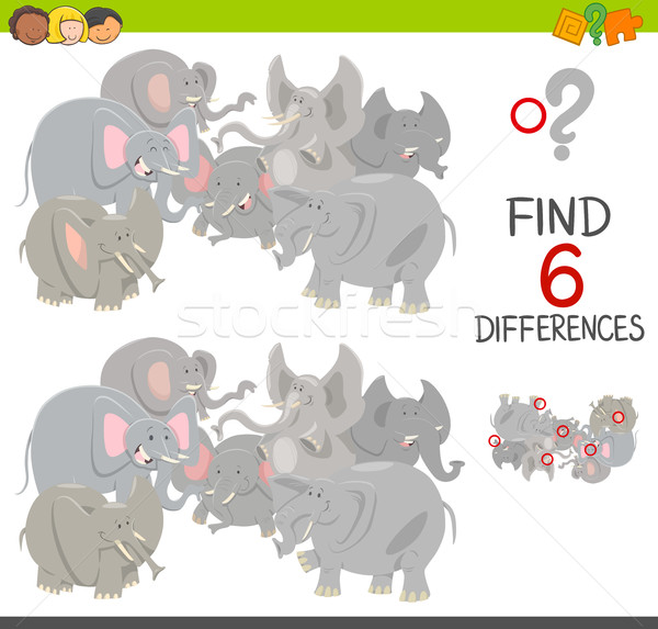 differences game with elephants Stock photo © izakowski