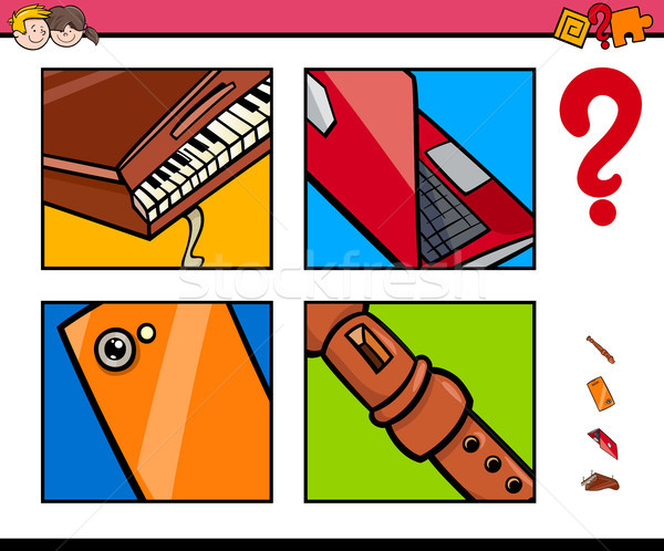 Odgadnąć obiektów cartoon gry dzieci ilustracja Zdjęcia stock © izakowski