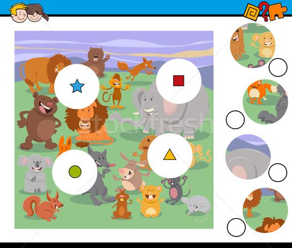 Partido piezas actividad juego animales Cartoon Foto stock © izakowski