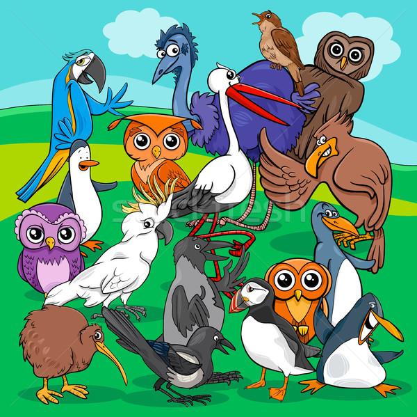 birds group cartoon illustration Stock photo © izakowski