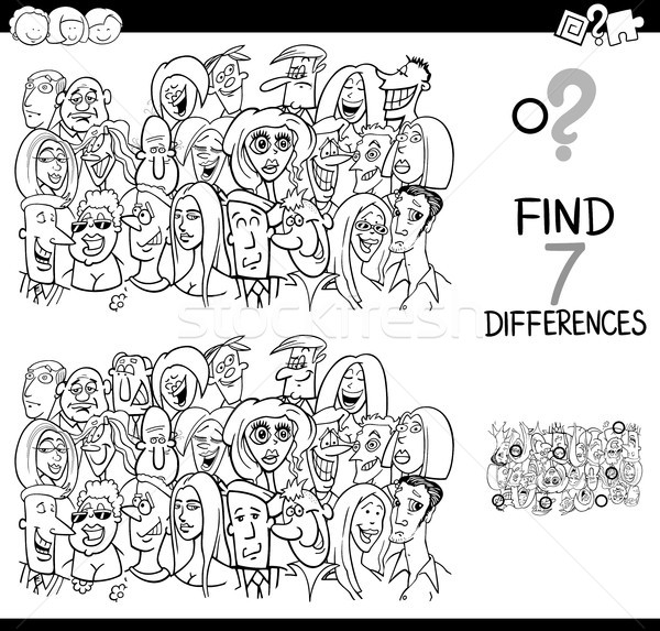 differences game with people group coloring book Stock photo © izakowski