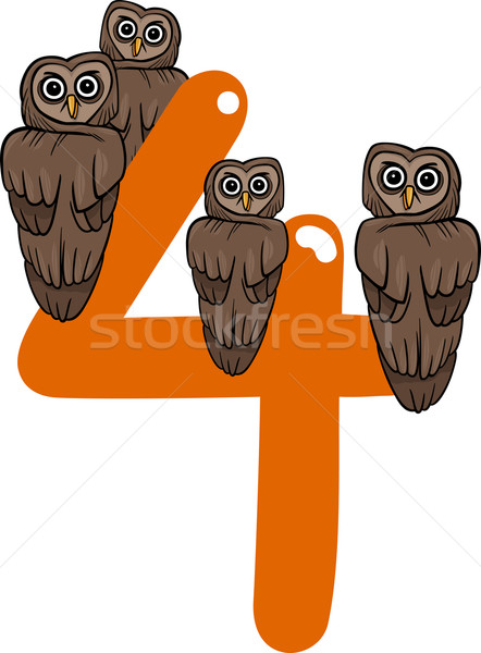 number four and 4 owls Stock photo © izakowski