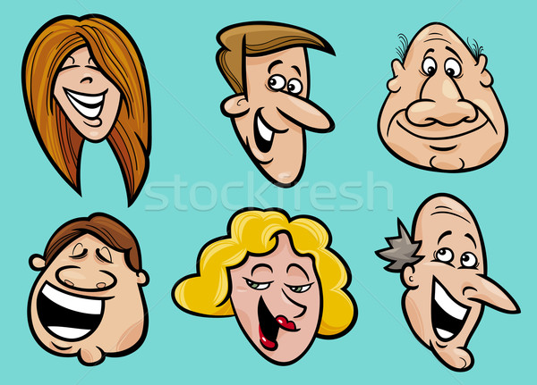 Foto stock: Conjunto · pessoas · felizes · faces · desenho · animado · ilustração · mulher