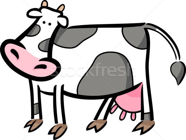 cartoon doodle of farm cow Stock photo © izakowski