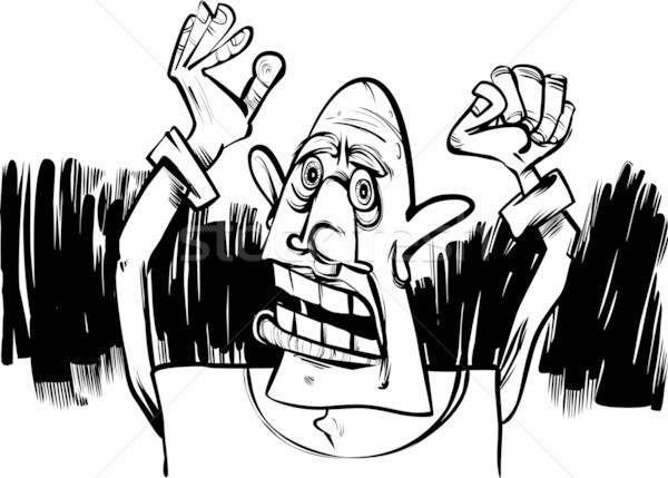 cartoon sketch of scared man Stock photo © izakowski