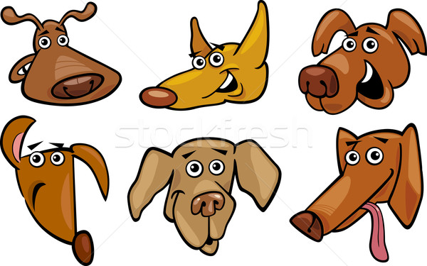 Stock photo: Cartoon funny dogs heads set