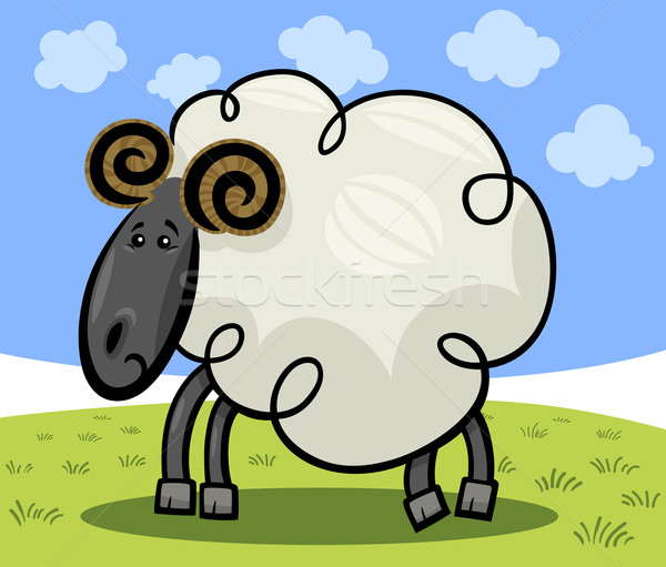 Cartoon illustration of ram or sheep Stock photo © izakowski