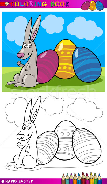 easter bunny cartoon for coloring Stock photo © izakowski