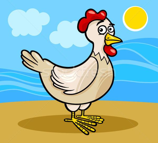 hen farm animal cartoon illustration Stock photo © izakowski