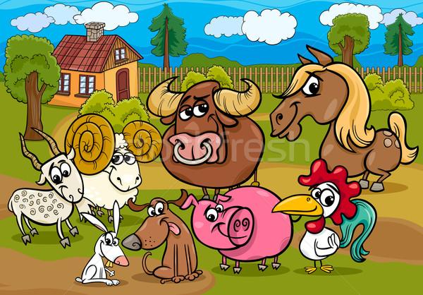 farm animals group cartoon illustration Stock photo © izakowski
