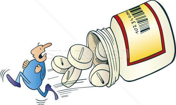 Man run away before pills Stock photo © izakowski