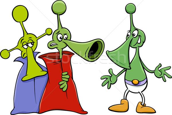 alien characters cartoon illustration Stock photo © izakowski