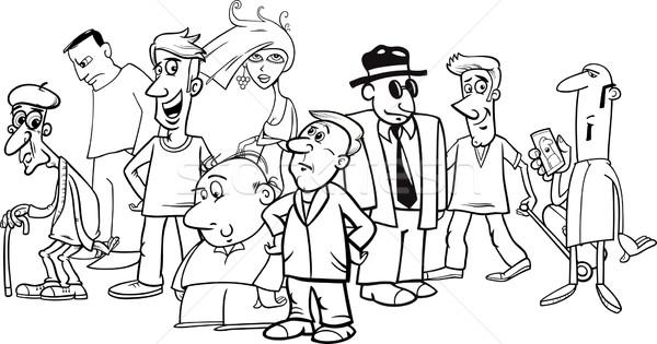 Rajzolt emberek tömeg feketefehér rajz humoros illusztráció Stock fotó © izakowski