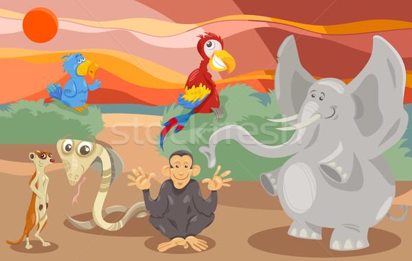 Stok fotoğraf: Hayvanlar · grup · karikatür · örnek · sahne