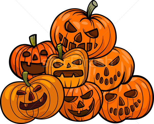 cartoon halloween pumpkins Stock photo © izakowski