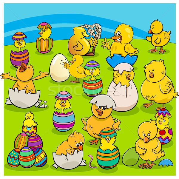 Húsvét csoport rajz illusztráció kellemes húsvétot Stock fotó © izakowski