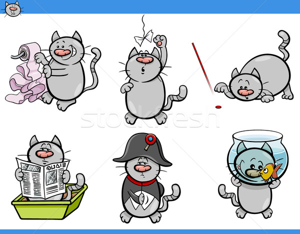 cat humor characters set Stock photo © izakowski