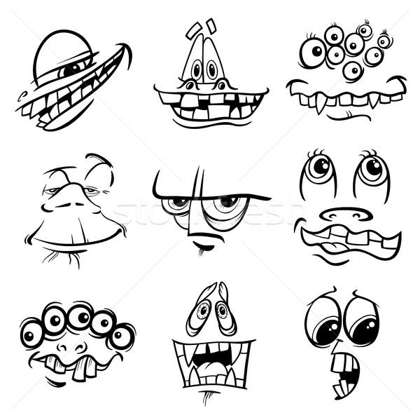 black and white monster characters Stock photo © izakowski