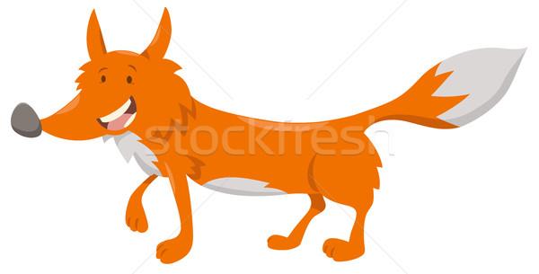 Cute Karikatur Fuchs Tier Zeichen Illustration Stock foto © izakowski