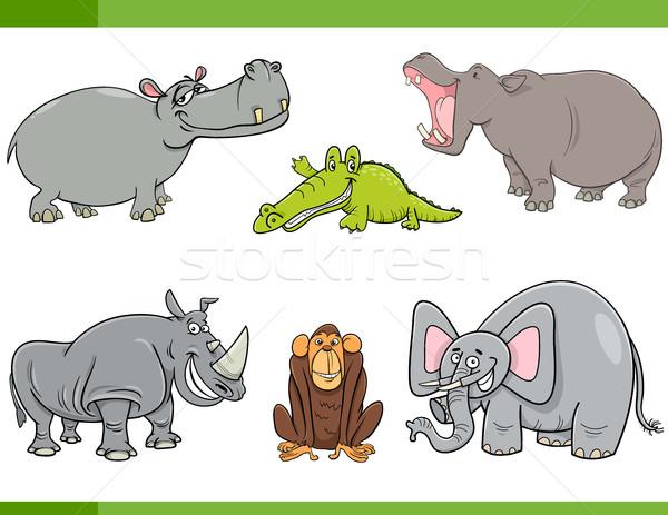 wild animals cartoon set Stock photo © izakowski