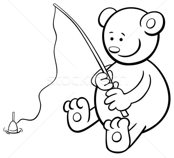 Balık Tutma Ayı Boyama Kitabı Siyah Beyaz Karikatür