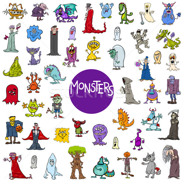 cartoon monster characters big set Stock photo © izakowski