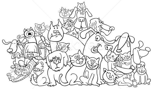 Karikatur Kopek Kediler Boyama Kitabi Siyah Beyaz