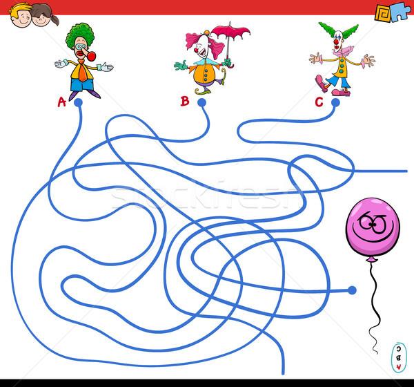 paths maze game with clowns and balloon Stock photo © izakowski