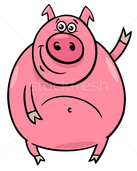 pig or porker character cartoon illustration Stock photo © izakowski