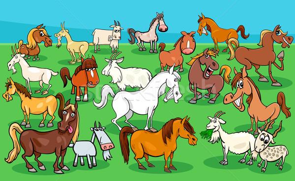 馬 ヤギ 家畜 グループ 漫画 ストックフォト © izakowski