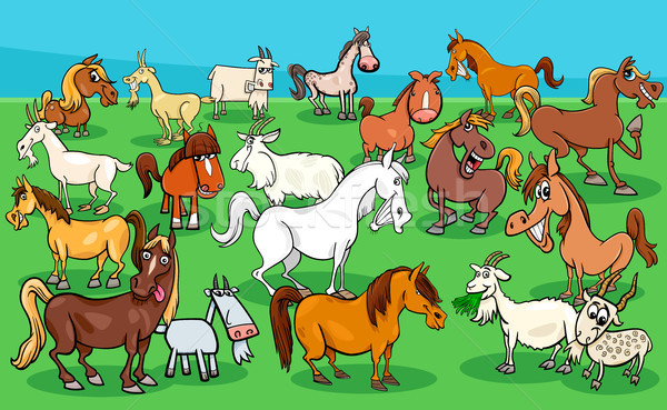 Cavalos grupo desenho animado Foto stock © izakowski