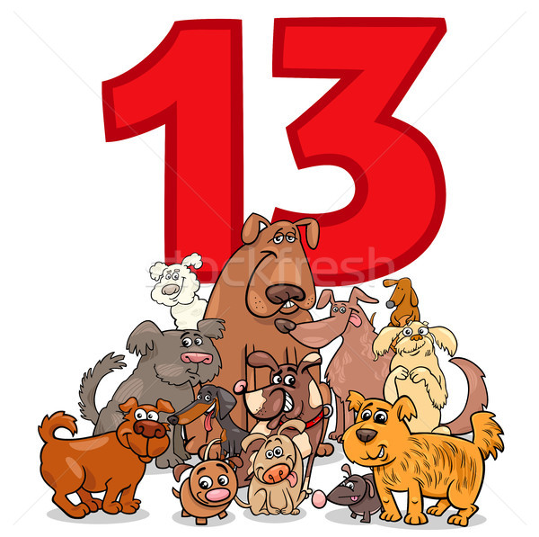 number thirteen and cartoon dogs group Stock photo © izakowski