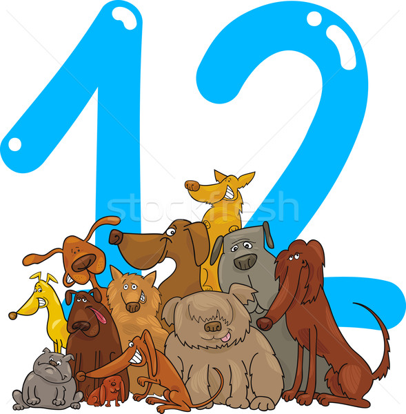 number twelve and 12 dogs Stock photo © izakowski