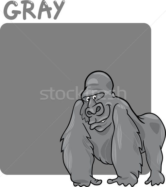 Color gris gorila Cartoon ilustración ninos Foto stock © izakowski