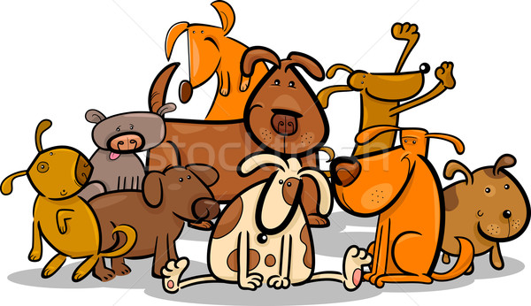 Cartoon Group of Cute Dogs Stock photo © izakowski