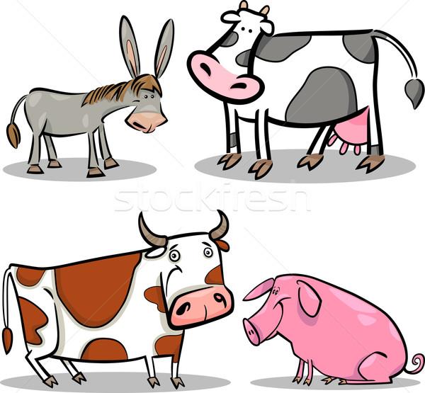 cute cartoon farm animals set Stock photo © izakowski