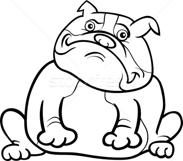 Stock photo: english bulldog dog cartoon for coloring book
