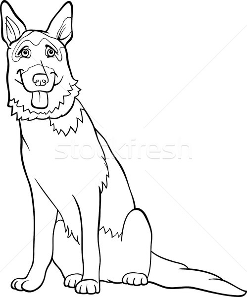 german shepherd dog cartoon for coloring Stock photo © izakowski