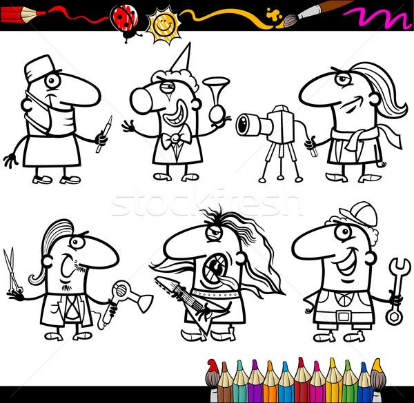 Foto stock: Personas · página · libro · para · colorear · Cartoon · ilustración · blanco · negro