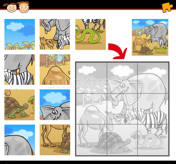 Cartoon safari dieren illustratie onderwijs spel Stockfoto © izakowski