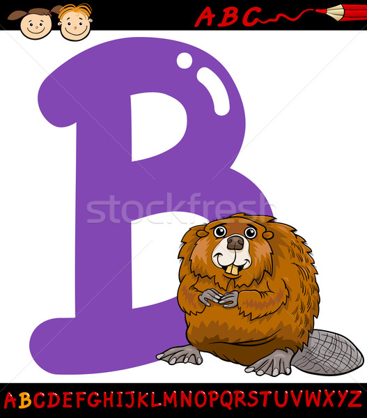 letter b for beaver cartoon illustration Stock photo © izakowski