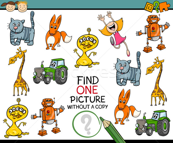 Educativo tarea niños en edad preescolar Cartoon ilustración mirando Foto stock © izakowski