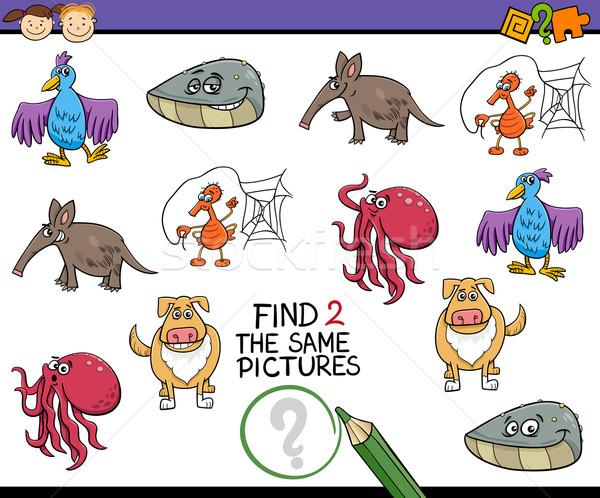 Tarefa crianças desenho animado ilustração olhando Foto stock © izakowski