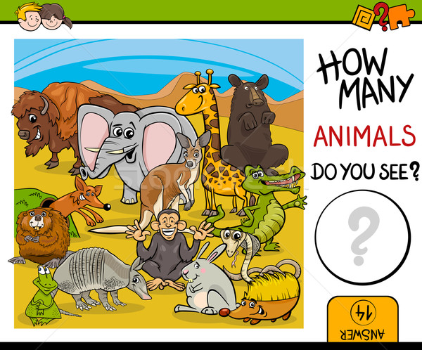 count animals activity for kids Stock photo © izakowski